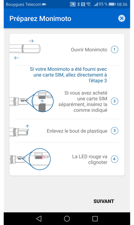 Configuration de l'application Monimoto