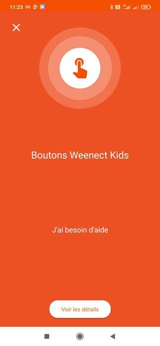 Message reçu via l'application depuis le bouton d'alerte du Weenect Kids