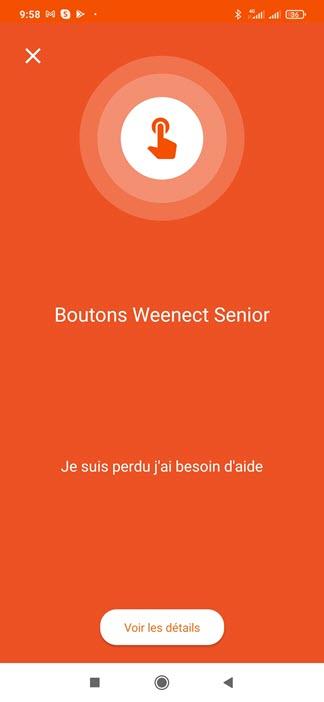 Une notification d'urgence sur l'application Weenect